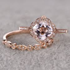 vintage rose rings images Ring for women 2pcs 1 5 ct morganite engagement ring 14k rose gold jpg