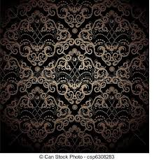 vectors of floral seamless ornament floral vector black and gold