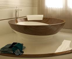 Brown And White Bathroom by Acrylic Free Standing Bath Tub In The Middle Of Bathroom With