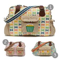 bags with bows pink lining changing bags