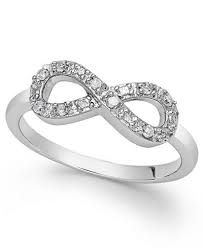 Infinity Wedding Rings by Diamond Infinity Ring In Sterling Silver 1 10 Ct T W Rings
