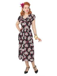 1940s dresses 1940s dress black pink white floral from vivien of holloway