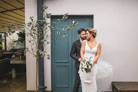 a chic enzoani dress for a cosy and intimate winter wedding love