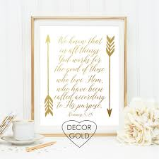 romans 8 28 bible verse gold foil print gold office decor gold