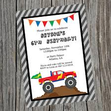 monster truck jam party supplies custom printable monster truck birthday party invitation