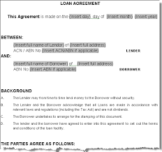 printable sample personal loan agreement form laywers template