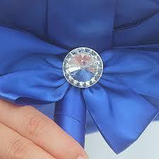 royal blue ribbon white satin roses wedding bouquet gem diamond royal blue ribbon