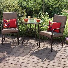 patio bistro table and chairs amazon com crossman 3 piece all weather square outdoor bistro