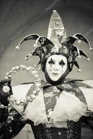 venetian jester costume venetian carnival maked woman as a jester black and white image