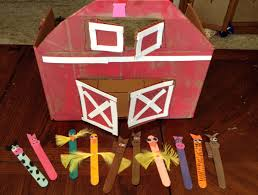 farm crafts cardboard box barn u0026 popsicle stick animals