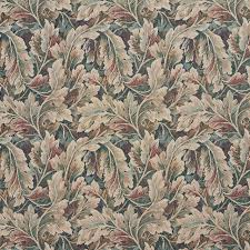 burgundy ivory and green floral leaf tapestry upholstery fabric by