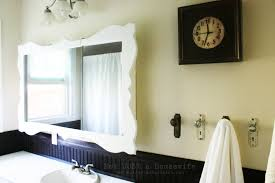 Bathroom Mirror Ideas Diy by Bathroom Customized White Framed Mirror Hanging On Creamy Wall