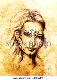 mystic woman eye with ornament pencil drawing on old paper color