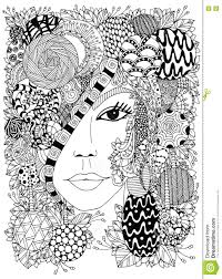 vector illustration zen tangle portrait of a woman in a flower