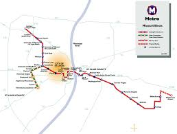 Metro Rail Map by St Louis Metrolink Light Rail Map