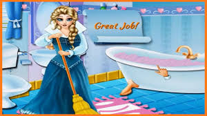 fun frozen elsa bathroom clean up game video great cleaning games