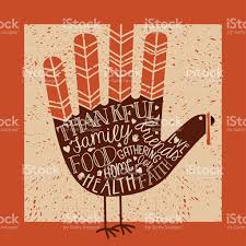 thanksgiving messages on print turkey stock vector