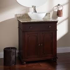 paint above dark brown bathroom vanities vessel sinks on wooden