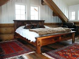Reclaimed Wood Bed Frame Bedroom Classic Brown Lacquered Walnut Wood Bed Frame With Faux