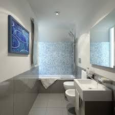 Bathtub Backsplash by White Surround Bathtub With Blue Glass Mosaic Backsplash For Small