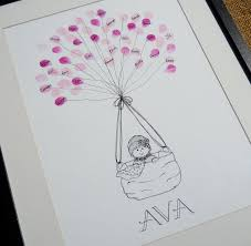 baby shower thumb print guest book that turns into art for the