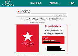 instant e gift card instant 25 macy s gift card from e rewards i ve been a member of