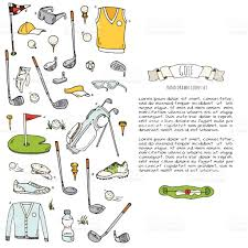hand drawn doodle golf icons set vector illustration game