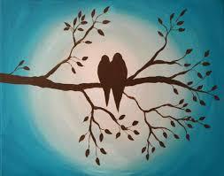 birds on branch painting class