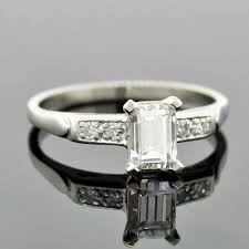 art deco platinum emerald cut diamond engagement ring 87ct u2013 a