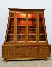 2 Piece China Cabinet Mcm 2 Piece Walnut Burl Wood China Cabinet Hutch In Cook County