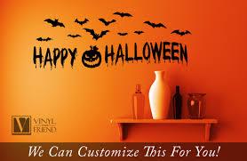 happy halloween with bats and pumpkin vinyl lettering decal for happy halloween with bats and pumpkin vinyl lettering decal for home decor 2207