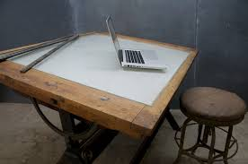 Light Drafting Table 1920s Industrial Oak Iron Drafting Table 20th Century Vintage