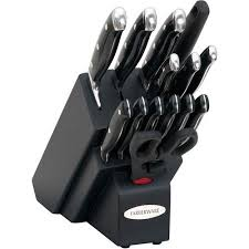 farberware cutlery 15 piece forged knife set with black handles