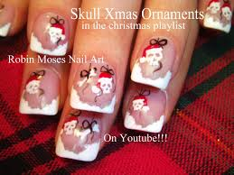 christmas santa skull ornaments nails xmas nail art design