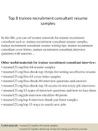 Sample Non Profit Resume by Top8traineerecruitmentconsultantresumesamples 150410042009 Conversion Gate01 Thumbnail 4 Jpg Cb U003d1428657656