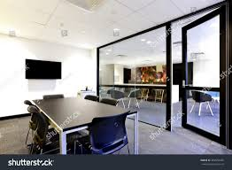 Frosted Glass Conference Table Panoramic Office Meeting Room Glass Stock Photo Image With