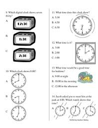telling time to the hour and half hour study guide and test