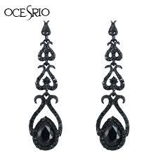 black drop earrings vintage black earrings rhinestones black earrings for