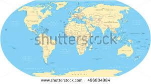 map world seas world map national borders oceans seas stock vector 496804984