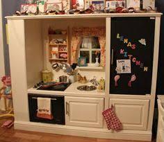 diy play kitchen ideas entertainment center repurposed into kid s play kitchen click