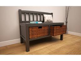 solid wood storage bench with wicker basket drawers underneath