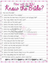 how well do you know the bride bridal shower game pink fun