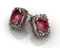 garnet stud earrings garnet baguette diamonds gold