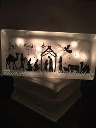 nativity scene lighted glass block christmas decoration night