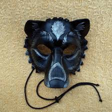 halloween personal checks made to order black and silver leather wolf mask