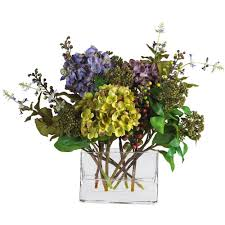 Artificial Flower Arrangements Nearly Natural 45 In H Yellow Forsythia With Vase Silk Flower