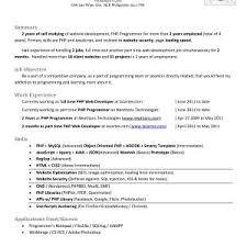 sle resume for experienced php developer free download sle resume for experienced php developer best of sle resume