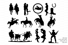 cowboy western silhouettes clip art objects creative market