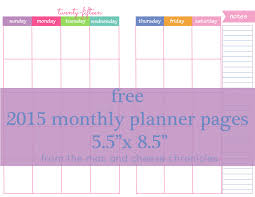 Free 2015 Monthly Planner Pages