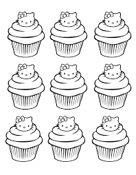 cupcakes kitty simple cup cakes coloring pages